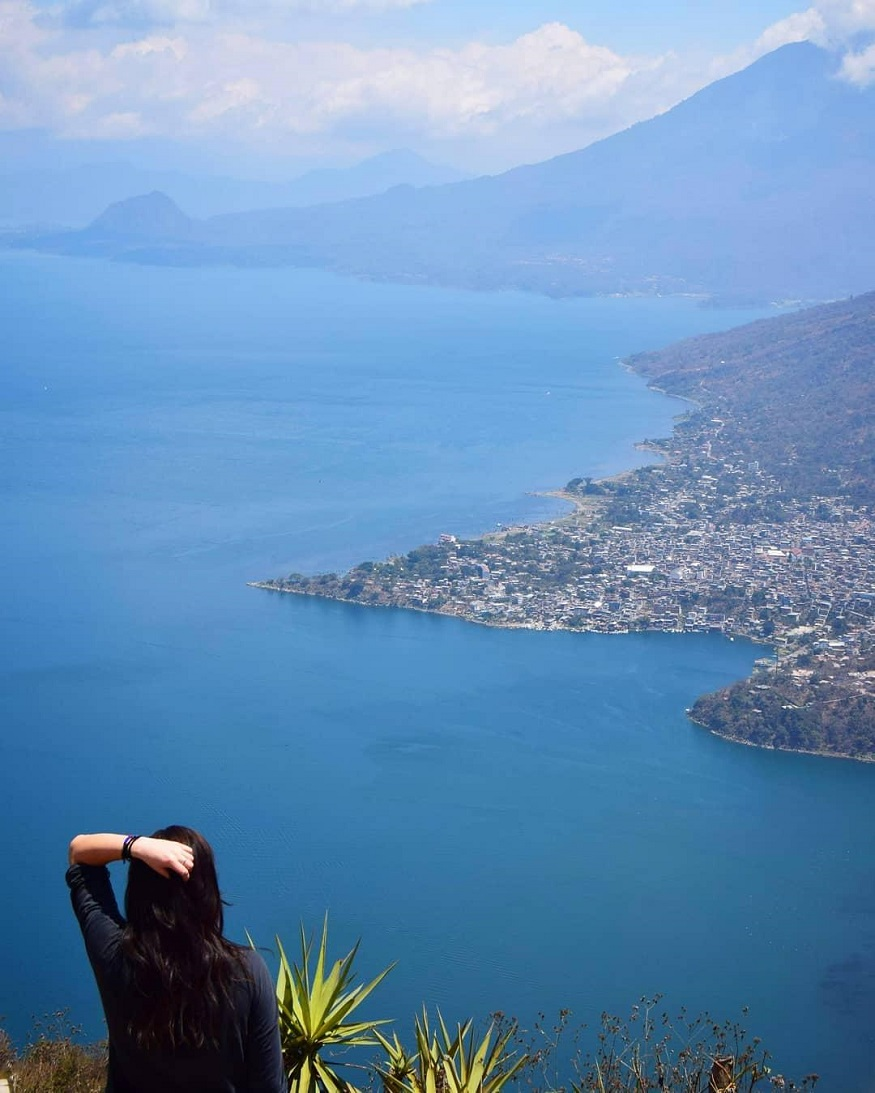 backpacking guatemala, girl standing over Lake Atitlán, Guatemala