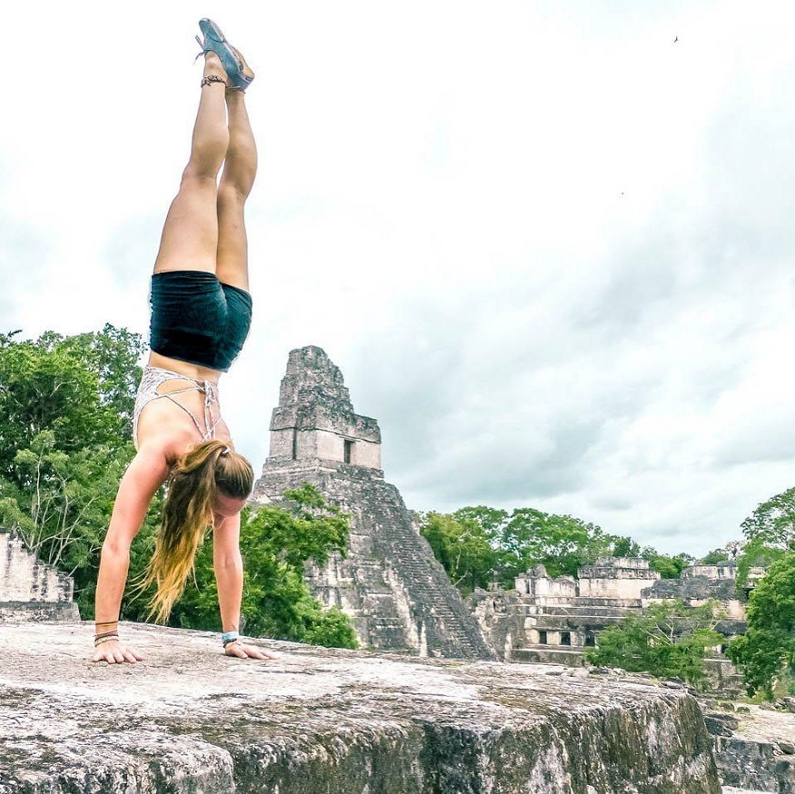 backpacking guatemala, girl doing a hand stand